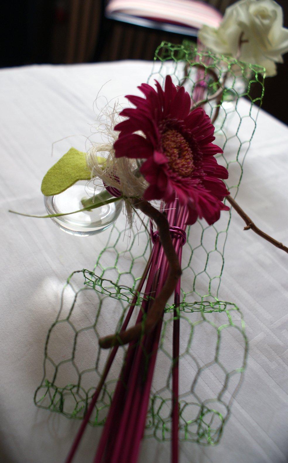 mariage will et do centre de table de la table des mariés