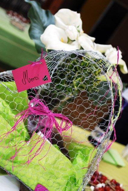 urne mariage grillage vert anis fushia marron