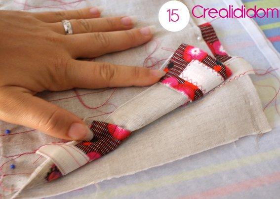 Pochette crochet tissus petit pan étape 15